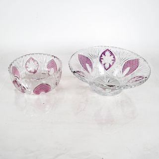 Fine Cut Crystal, Clear, Amethyst - Two Items