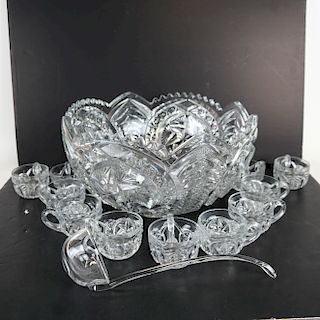 Fine Cut Crystal Punch Bowl Service for Eleven