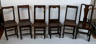 Six Continental Oak Side Chairs