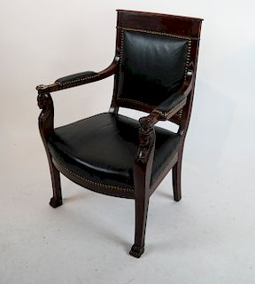 Empire-Style Sphinx Motif Arm Chair