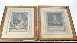 Pair French Portrait Prints