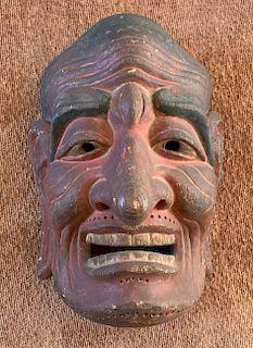 Cypress Wood Gigaku Mask, Edo Period or Earlier