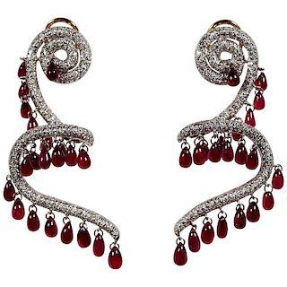 Rhodium Plated 18 Karat Yellow Gold Ruby and Diamond Spiral Earrings