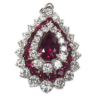 Platinum, Ruby and Diamond Pendant Brooch 8.45 Carat