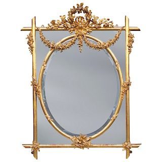 Fine English Large 19th Century Carved Giltwood Mirror