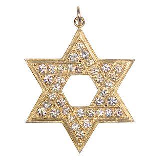 14 Karat Gold Star of David and Diamond 2.86 Carat Pendant
