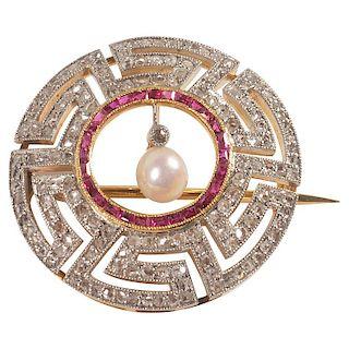Art Deco Diamond, Ruby and Pearl Geometric Brooch