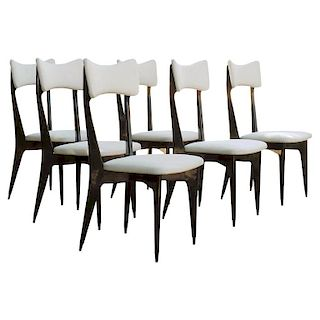 Set of Six Ebonized Dining Chairs Attributed to Ico Parisi