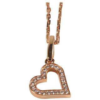 Cartier 18 Karat Pink Gold and Diamond Heart Pendant and Necklace 0.25 Carat