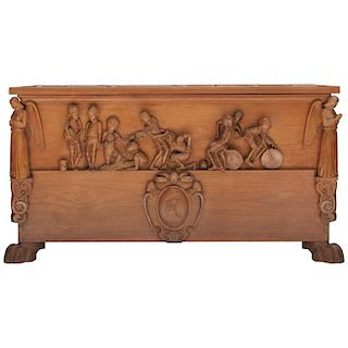 Wood Hand Carved Toy Box