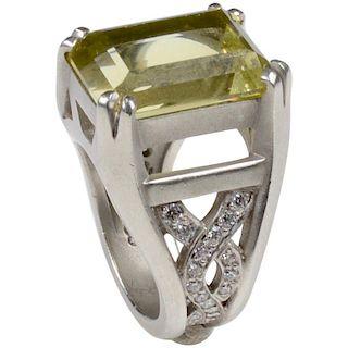 Kieselstein-Cord Platinum with 11.79 Carat Beryl and 0.75 Carats Diamond Ring