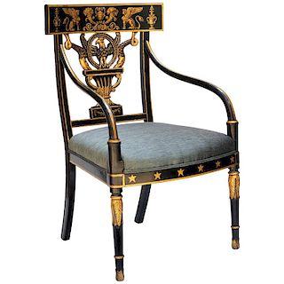 Early Nineteenth Century American Regency Painted Armchair