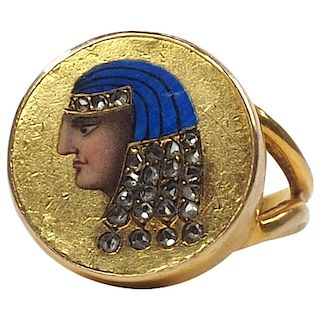 19th Century Egyptian Revival Enamel and Diamond Ring