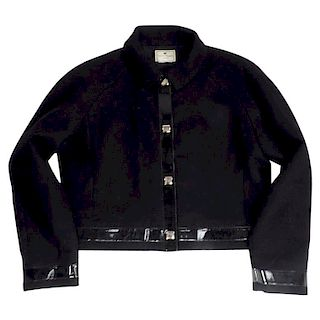 1960s Courreges Black  Wool Jacket with Patent Leather Trim