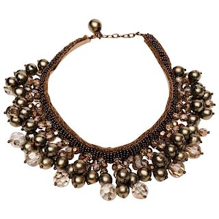 Pendant Nacre Pearl and Large Rhinestone Necklace with Alloy Beads and Gilt Wire
