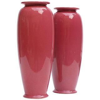 Pair of Rose Glazed Christopher Dresser Vases by Ault Pottery, 1890s