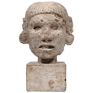 Twentieth Centiury Carved Plaster Mayan Head
