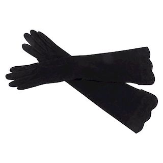 Chanel Black Suede Elbow length Gloves