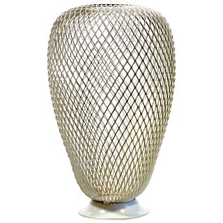French 1950s Metalwork Vase in the Manner of Mathieu Mategot