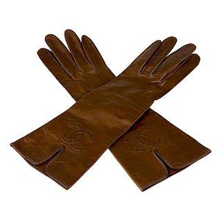 Chanel Brown Kidskin Leather Gloves