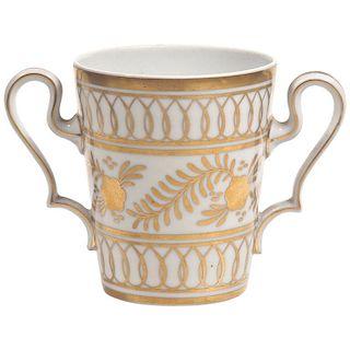 Limoges Porcelain and Gilt Loving Cup Posy Vase