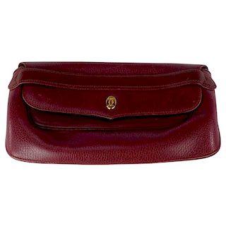 Cartier Red Bordeaux Leather Must de Cartier Clutch Bag