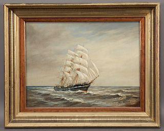 "Max Parsons ""Ship at Sea"" oil on board."