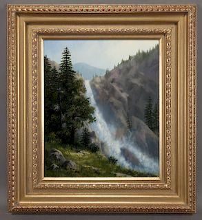 "Robert DeLeon ""Secluded Falls"" oil on board,"