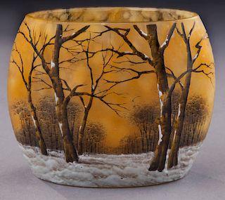Daum Nancy winter scene cameo glass vase,