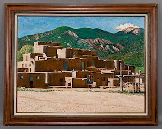 """Taos School """"Untitled (Pueblo Village)"""", oil"""