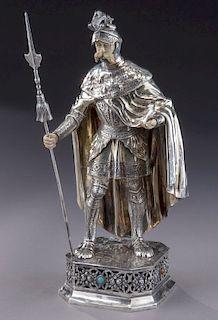 Sterling silver figure of a Knight wearing