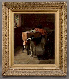 "Arthur Dodd ""Waiting for Master"" oil on canvas."