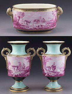 (3) Pcs. Continental porcelain garniture set,