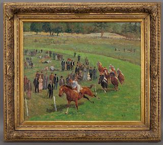 """French School """"Untitled (Around the Track)"""" oil on"""