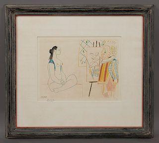 "Pablo Picasso ""Untitled"" color lithograph."