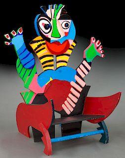 """Karel Appel """"Chair"""" painted wood, 1977"""