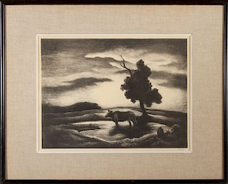 "Thomas Hart Benton ""Sunset"" AAA Lithograph"