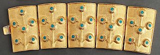 Alexis Kirk Gold-Tone & Faux Turquoise Cuffs