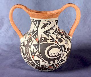 Acoma Pottery Two Handled Jar, P.Ivle