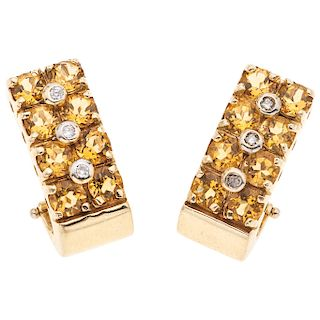 PAIR OF CITRINES AND DIAMONDS EARRINGS. 14K YELLOW GOLD