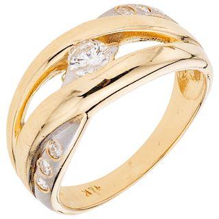 DIAMONDS RING. 14K YELLOW AND WHITE GOLD
