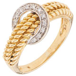 DIAMONDS RING. 18K YELLOW AND WHITE GOLD