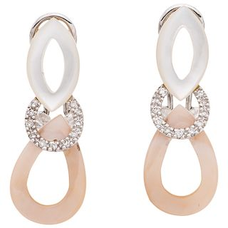 PAIR OF MOTHER-OF-PEARL AND DIAMONDS EARRINGS. 14K WHITE GOLD