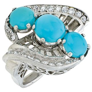 TURQUOISE AND DIAMONDS RING. 18K WHITE GOLD