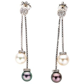 PAIR OF CULTURED PEARLS AND DIAMONDS EARRINGS. 18K WHITE GOLD