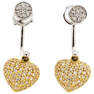 PAIR OF DIAMONDS EARRINGS. 18K WHITE AND YELLOW GOLD