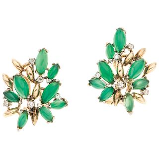 PAIR OF JADE AND DIAMONDS EARRINGS. 14K YELLOW GOLD AND PALLADIUM SILVER