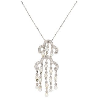 CHOKER AND PENDANT WITH DIAMONDS AND CULTURED PEARLS. 14K WHITE GOLD