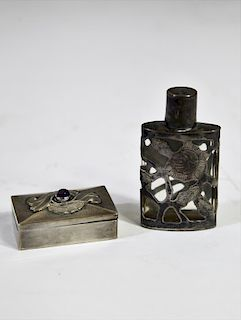 Sterling Pill Box and Snuff Bottle