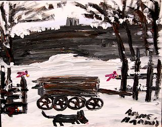 Outsider Art, Alyne Harris, Snow Wagon with Red Birds and Dog